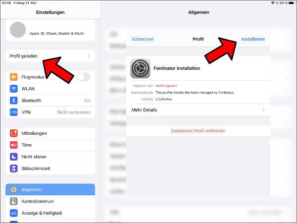 iPad Schriftart installieren Anleitung Font