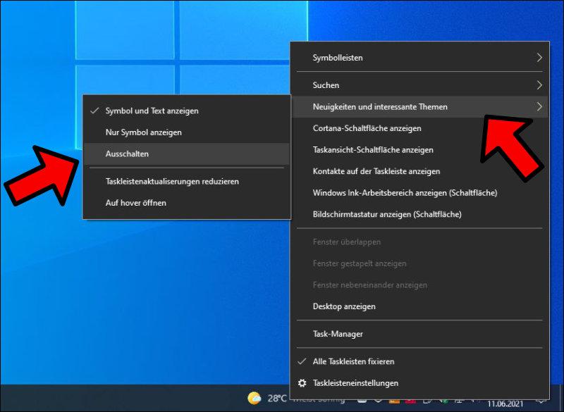 Windows Update Wetter Taskleiste Leiste