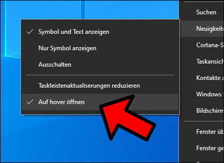 Windows Update Wetter Taskleiste öffnen