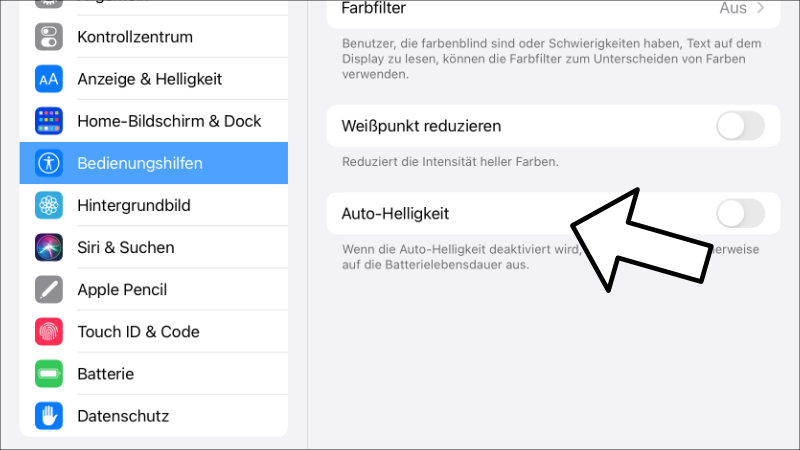 iPad Auto Helligkeit ausschalten deaktivieren