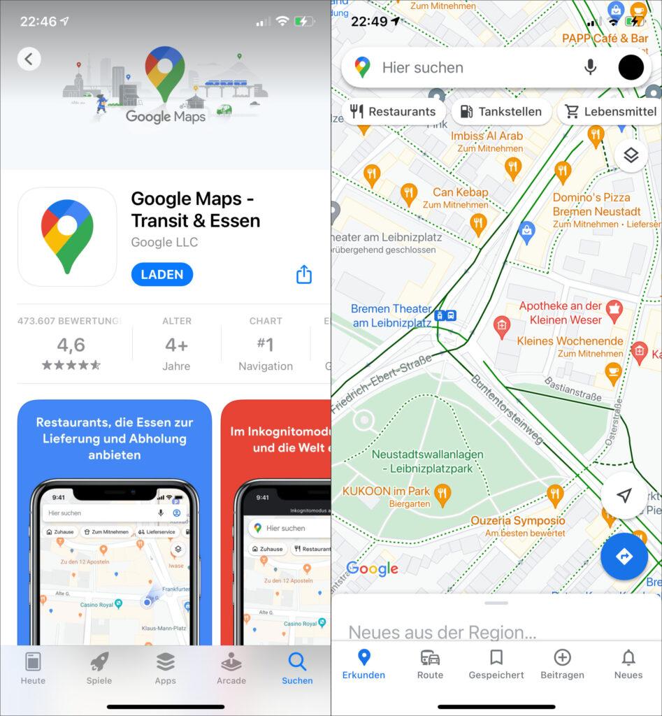 Google Maps E Scooter Fahrradwege Navigation Karten