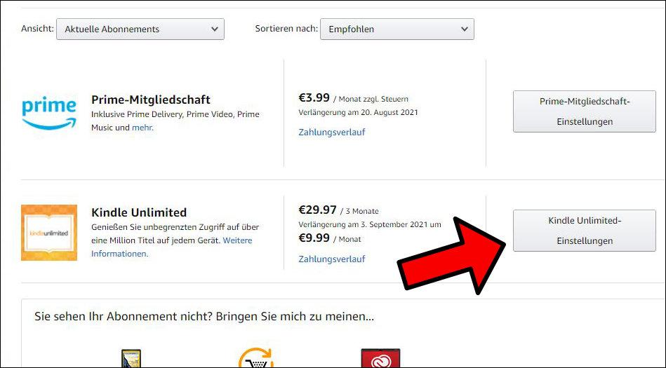 Amazon Kindle Unlimited kündigen